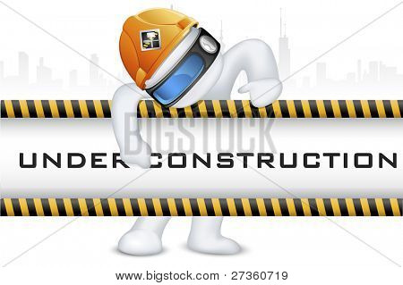 illustration of 3d man in vector fully scalable wearing hard hat on under construction signboard