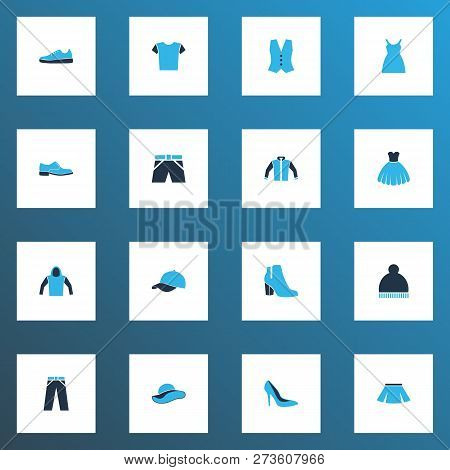 Clothes Icons Colored Set With Pompom, Mini, Dress And Other Vest Elements. Isolated Vector Illustra