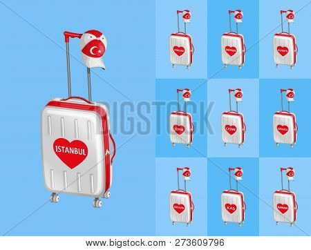 Wheeled Bags For Travel To Turkey Touristy Cities With Turkish Cap. All The Objects Are In Different