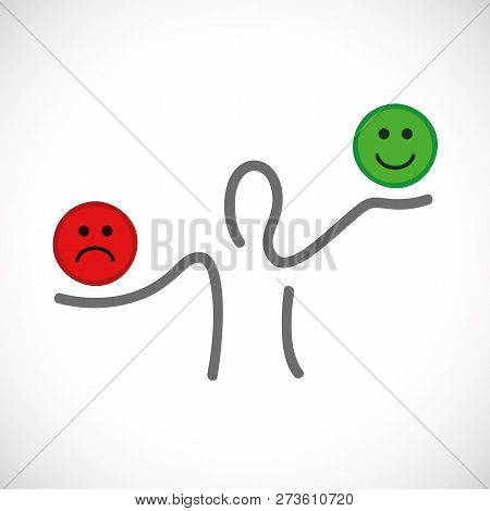 Positive And Negative Thinking Inspiration And Motivation Concept Vector Illustration Eps10