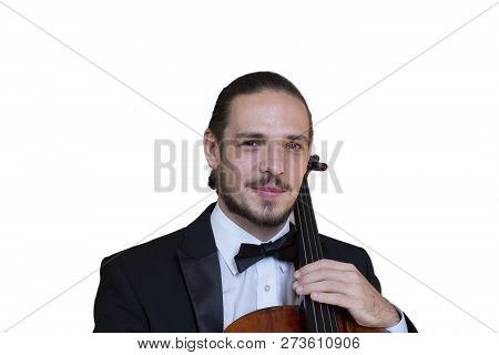Young Cellist Playing The Cello Isolated Image On White Background. Genre Portrait