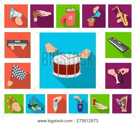 Manipulation By Hands Flat Icons In Set Collection For Design. Hand Movement Vector Symbol Stock Web
