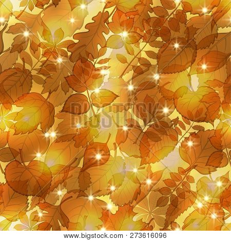 Seamless Pattern, Tile Background With Golden Leaves Of Various Trees. Vector