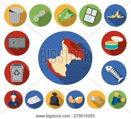 Garbage And Waste Flat Icons In Set Collection For Design. Cleaning Garbage Vector Symbol Stock Web