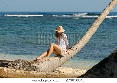 Beautiful Woman Sitting On Palm Tree On The Beach. Healthy People Lifestyle. Woman Relaxing On The B