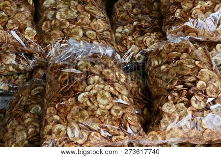 Bags Of Banana Chips Sold As Street Food Snacks In Cambodia