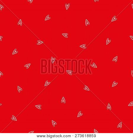Sweet Ditzy Red And White Hand Drawn Doodle Hearts As Seamless Vector Pattern. Great For Valentine.