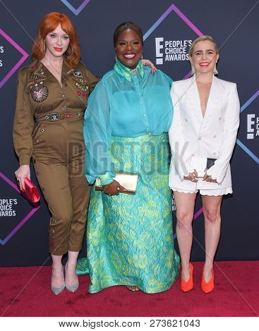 LOS ANGELES - NOV 11:  Christina Hendricks, Retta and Mae Whitman arrives for the 2018 People's Choice Awards on November 11, 2018 in Santa Monica, CA