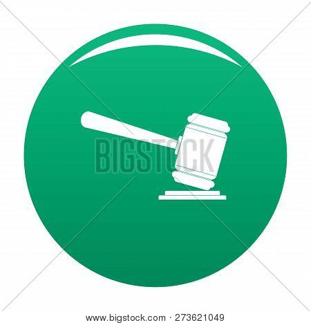 Judge Gavel Icon. Simple Illustration Of Judge Gavel Icon For Any Design Green