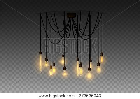 Realistic Loft Style Hanging Lamp. Incandescent Lamp. Vector