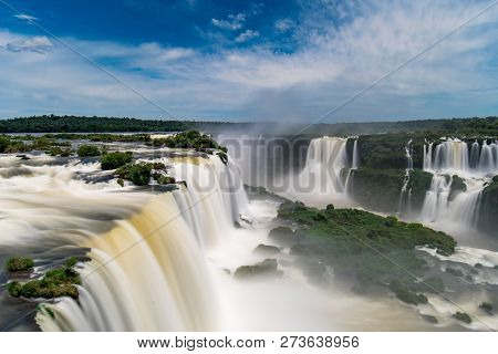 Iguazu Falls, One Of New Seven Wonders Of Nature, In Brazil And Argentina, High Angle View