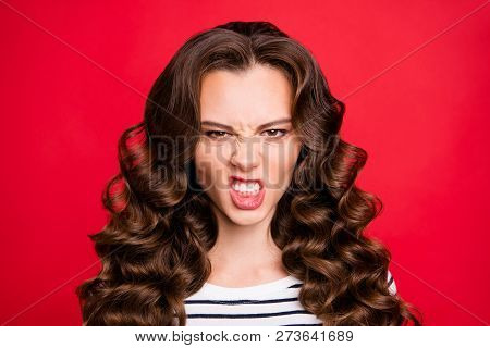 Close Up Portrait Of Attractive Perfect Hairstyle She Her Girl Grin Mad Crazy In Anger Stay Away Fro