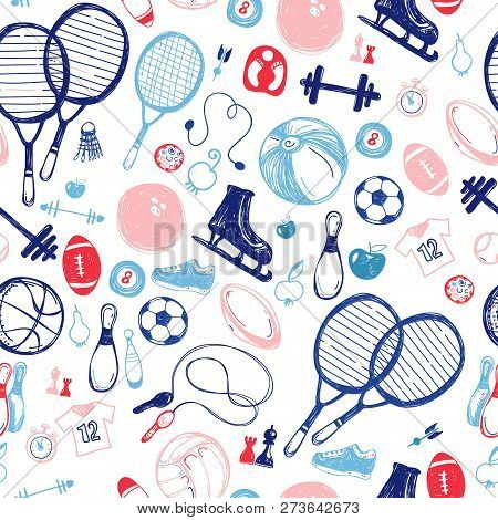 Sport Sketch Pattern. Hand Drawn Sports Equipment.