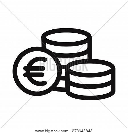 Euro Coins Icon Isolated On White Background. Euro Coins Icon In Trendy Design Style. Euro Coins Vec