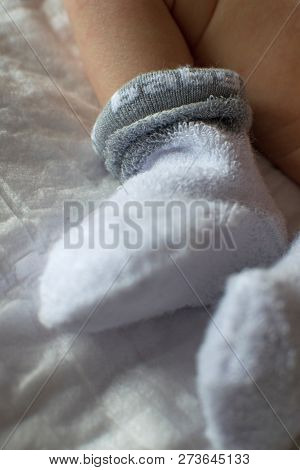 Newborn Baby Feet Close Up. Baby Feet In White Terry Socks, Baby Lying On Bed, Baby's Legs, Newborn.