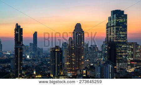 Night Of The Metropolitan Bangkok City Downtown Cityscape Urban Skyline Tower Thailand  - Cityscape