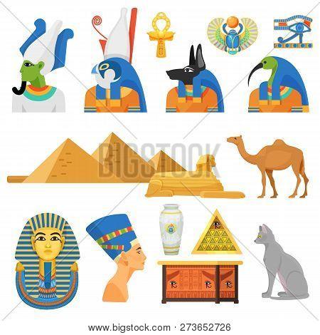 Egypt Culture Set. Gods, Sacred Animals, International Architectural Monument.