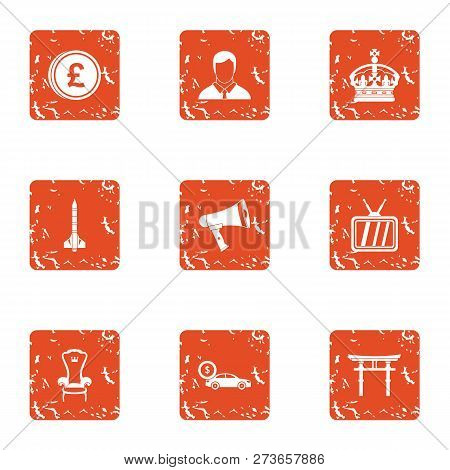 Royalty money icons set. Grunge set of 9 royalty money icons for web isolated on white background poster