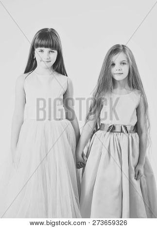 Funny Family. Two Cute Little Children Girls. Sisters