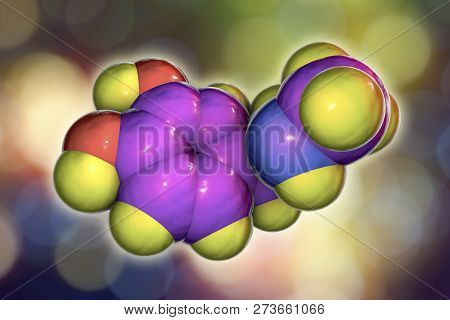 Epinephrine molecule, 3D illustration. A hormone produced by adrenal gland, it has effect on blood pressure, lypolysis, glycogenolysis poster
