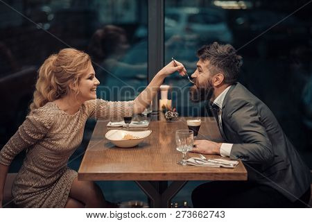Proposal And Anniversary. Business Meeting Of Man And Woman. Date Of Family Couple In Romantic Relat