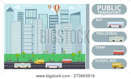 Flat City Transport Landing Page Template With Trolleybus, Tram, Bus, School Bus. Public Transport A