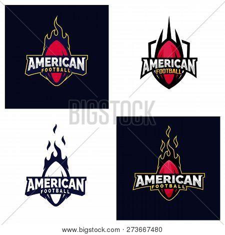 Set Of Modern Professional American Football Logo For Sport Team