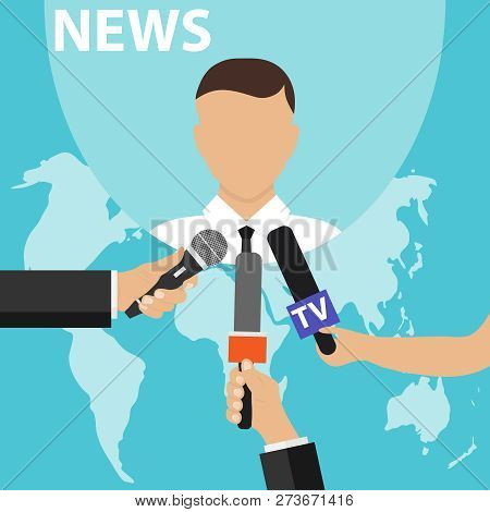 News Concept With Microphones. Journalists Hands Holding Microphones Performing Interview. Media Tv
