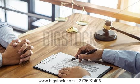 Law, Lawyer Attorney And Justice Concept, Consultation Between A Male Lawyer And Client, Giving Advi