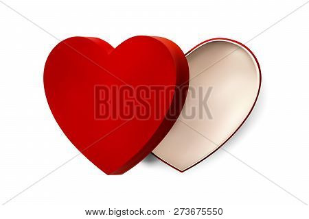Vector Red Heart Box For Valentines Day Or Special Day In Love Concept. Open Empty Red Gift Box With