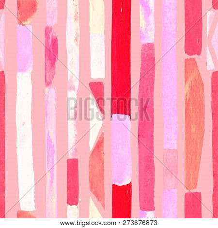 poster of Bauhaus pattern. Pink red geometric watercolor abstract seamless print. Watercolour stripe background. Kaleidoscope lines. Contemporary art illustration. Bauhaus graphic design. Trendy texture