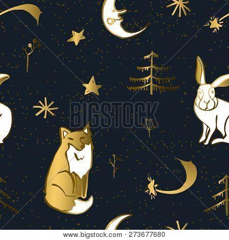 Christmas Seamless Pattern With Woodland Animals, Trees And Stars. Red Foxes And White Hare In The W