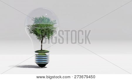 Green Energy, With Tree Inside Bulb , 3d Rendering
