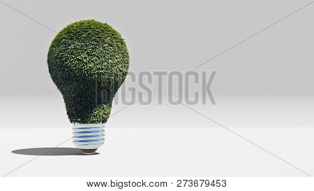 Green Energy Bulb With Green Foliage, 3d Rendering