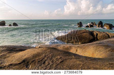 Rock Formations On Koh Samui's South Coast, Known As Grandpa (ta) And Grandma (yai), Look, Respectiv