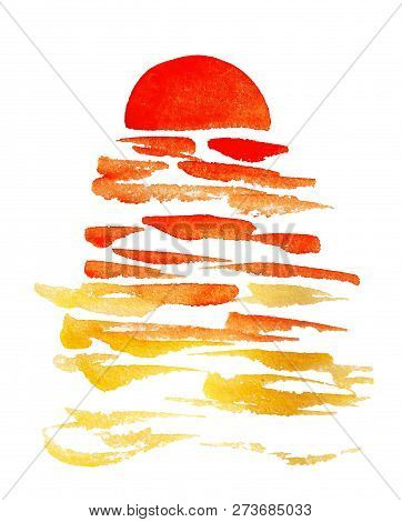 Watercolor Image Of Marine Sunset And Waves On White Background