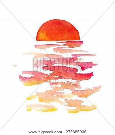 Set Of Watercolor Images Of Marine Sunset And Waves On White Background
