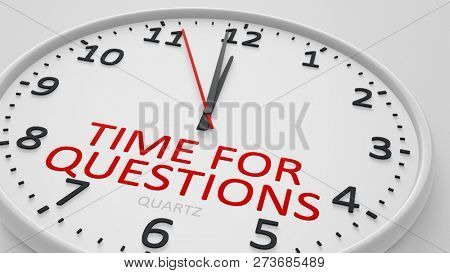 time for questions modern bright clock style 3d illustration
