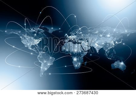 Physical world map illustration. Primary source and elements of this image furnished by NASA
