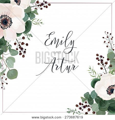 Wedding Vector Invite Card, Invitation, Save The Date, Greeting. Floral Design. Light Pink Anemone F