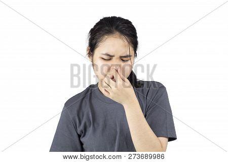 Girl Smell Foul Facial Unhappy White Background