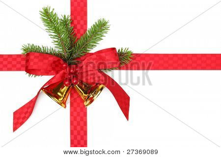 Christmas ribbon bow with fir branches