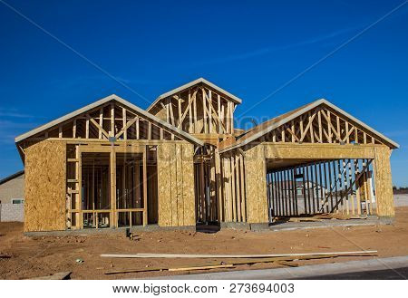 New Home Construction With Dormer In Framing Stage