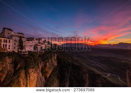 White Village Ronda In Iberia Andalusia By Sunset