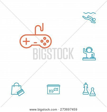 Set Of 6 Hobbie Icons Line Style Set. Collection Of Checkmate, Payment, Fishbowl And Other Elements.