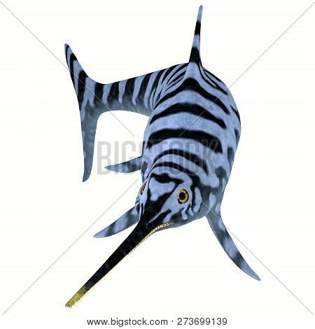Eurhinosaurus Ichthyosaur Stripped Pattern 3d Illustration - Eurhinosaurus Was A Carnivorous Ichthyo