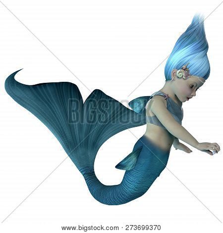 Mermaid Baby With Pearl 3d Illustration - A Cute Illustration Of An Infant Mermaid Holding A Sea Pea