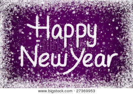 Happy New Year Message on Purple Snow Background