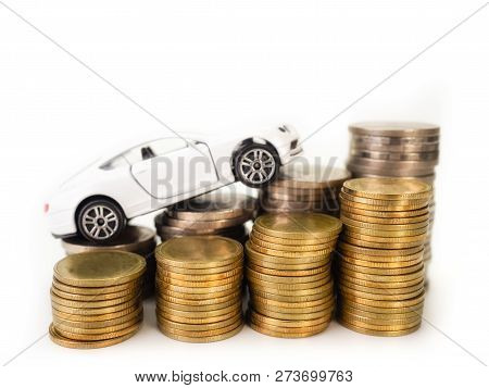 Car Loan , Money , On White Background. (for Loans Costs Finance Concept)