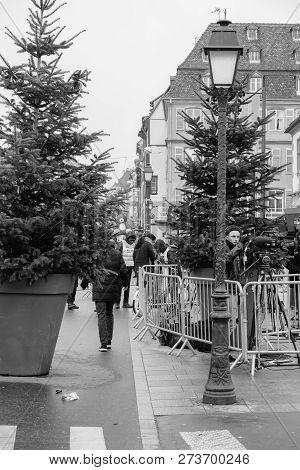 Strasbourg, France - Dec 11, 2018: Police Surveilling The Entrance To Strasbourg Christmas Market Ne